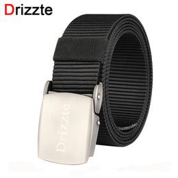 Discount wholesale belts for men - Drizzte Plus Size Nylon Web Belt 150 160 170 180cm Webbing Metal Buckle 47'' to 71'' inch Duty Belt for Big Man