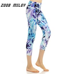 spandex print leggings 2019 - ZOOB MILEY Women Professional Sports Leggings Calf Length Fitness Running Compression Tights Trousers Workout Training P