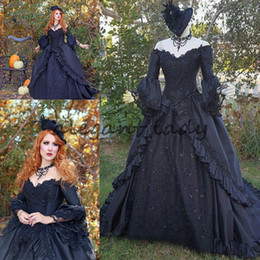 China Black Sparkle Marie Antoinette Victorian Gothic Wedding Upscale Costume Gown 2018 plus size long sleeve vintage wedding dresses supplier pink marie antoinette costume suppliers