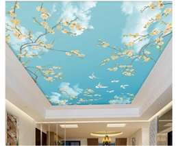 $enCountryForm.capitalKeyWord Australia - 3d wallpaper custom photo ceiling mural wallpaper Hand-painted flowers birds blue sky white dove pigeon bird ceiling zenith mural sticker