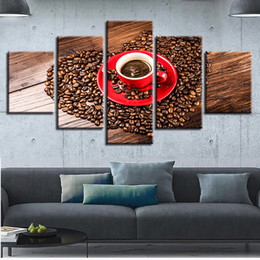 $enCountryForm.capitalKeyWord NZ - HD Picture Canvas Frame 5 Pieces Heart Shape Coffee Beans Printed Modular Paintings Wall Art Modern Poster Decor For Living Room