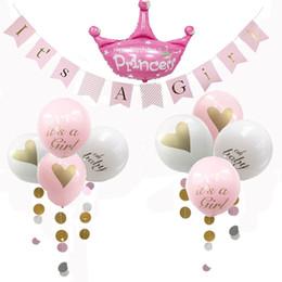 Venta al por mayor de Decoraciones de baby shower para niños, es una bandera de guirnalda Garland para niña / niño, 8 piezas de globos con cinta, fiesta temática rosa / azul