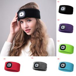 $enCountryForm.capitalKeyWord NZ - Rechargeable LED Flashing Headband Wrap Knitted Light For Outdoor Hunting Headlight Fishing Headband Party Favor TC180927 10pcs