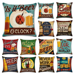 Discount retro home bars - Retro Beer Bottle Pillow Case Automobile Cushion Cover Flax Soft Pillowcase Bar Cafe House Decor Home Textiles 5 3kh gg