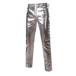 51487268b5efa7 Shiny Jeans UK - Mens Side Zipper Design Metallic Sliver Pants Brand Moto  Jeans Style Faux