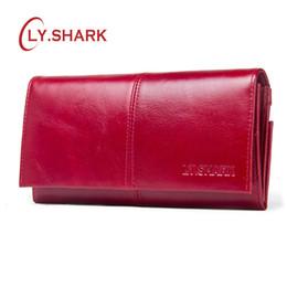 2e4d843f335be SHARK Frau Brieftasche Kartenhalter Weiblichen Geldbörsen Echtem Leder  Brieftasche Weibliche Geld Clutch Bag Rot Lang Reißverschluss