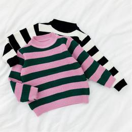 3b82cf3fc Rlyaeiz 2018 Winter Autumn Baby Girls Pullover Sweaters Korean Fashion  Striped knitted Sweater Kids Tops Children Clothing