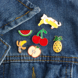 cartoon fruit watermelon Australia - Fashion Mini Fruit Brooch Pins Cartoon Cute Cat Banana Pineapple Watermelon Cherry Enamel Pin Brooches Jacket Denim Collar Badge