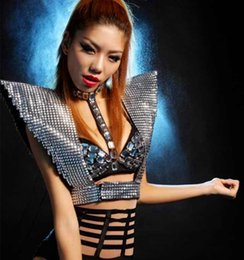 China New Sexy Nightclub Woman Stage Outfit Ds Show Clothes Vest Sequins Female Singers Armor Gold Sliver Dj Performance Costumes cheap belly dancing sexy clothing suppliers