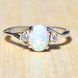 Discount oval zircon rings - White Fire Opal Ring For Women Big Oval Egg Shape Opal Ring Cubic Zircon Engagement Wedding Rings For Women Full Size 5-