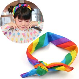 $enCountryForm.capitalKeyWord Australia - Stylish 55*55cm Small Square Scarf Cotton Rainbow Stripe Headband Gay Pride Face Mask Neck Scarf Headwear For Women Accessories