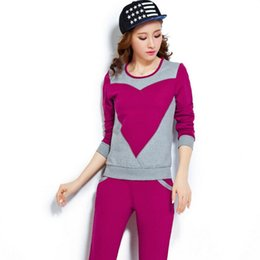 Wholesale 2 piece set women Spring and Autumn Women s new Korean version of the women s casual large size sportswear suit Slim two sets