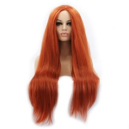synthetic lace wigs free shipping UK - Orange Straight Synthetic Lace Front Wig Long Natural Straight Lace Wigs Heat Resistant Fiber Synthetic Cosplay Wigs For Women Free Shipping