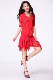 tops wear suit skirt UK - Red Lace Square latin Dance suit shirt top+lace sleeves dynamic angular skirt (with safety pants)women dancing wear costumes sets