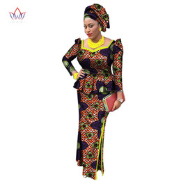 $enCountryForm.capitalKeyWord NZ - Africa Style Bazin Riche Dresses for Women Two Pieces Set Women Long Sleeve Tops and Long African Print Skirt Plus Size WY2438