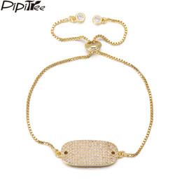 ef4d2ba17a1 Pipitree Luxury Full Micro CZ Zircon Stone ID Charm Bracelet Copper Chain  Adjustable Wedding Bracelets for Women Men Nickle Free
