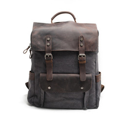 Styles Backpacks Australia - New fashion Good quality genuine leather and cotton canvas school backpack vintage style solid color hot sell canvas backpack