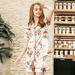 988e0a68a2 PS0253 New Summer Pajamas Women Sexy Satin Silk Pajama Set Flower Print Two  Pieces Pyjamas Female Short Sleeves Shorts Sleepwear