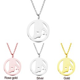Silver Wholesale Chain Usa Australia - Rhode Island Map Pendant Necklace with Love Heart Stainless Steel USA State RI Geography Map Necklaces Jewelry for Women and Men