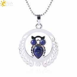 $enCountryForm.capitalKeyWord NZ - CSJA In Stock Statement Necklace Wholesale Silver Plated Natural Stone Owl Pendant Tiger Eye Amethyst Lovers Jewelry US Free ePacket F470 B