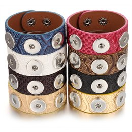 wide button bracelets NZ - New Noosa Chunk Jewelry 18mm Leather Snap Bracelet for Women Men Vintage Three Buttons Snap Button Bracelet Wide Leather Bracelet