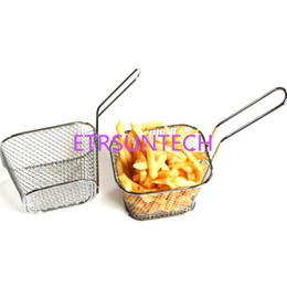fries basket 2019 - Chips Mini Fry Baskets Stainless Steel Fryer Basket Strainer Serving Food Presentation French Fries Basket QW7633 cheap