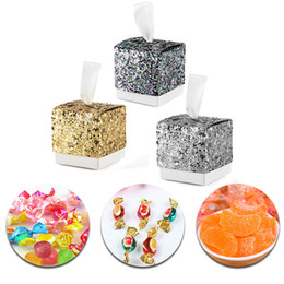 Silver Gift Wrapping Paper NZ - European Glitter Box Wedding Party Gift Favors Box Festive Party Wrapping Supplies Wedding Candy Box Gold Silver Glitter