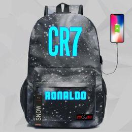 Venta al por mayor de 2019 cr7 Cristiano Ronaldo Mochila Bolsa de viaje escolar para adolescentes Casual con puerto de carga USB Bolsas para portátiles