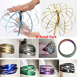 favor bracelets 2019 - Colorful Rainbow Magic Stainless Steel Flowtoys Bracelet Torofluxus Flowrings Kinetic Decompression Toys Party Favor Fid