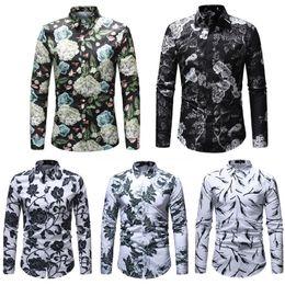Discount plus size white button down shirt - 2018 NEW Autumn Men Casual Business Floral Long Sleeve Button Shirt Cotton Soft High Quality Slim Fit Shirts Plus Size M