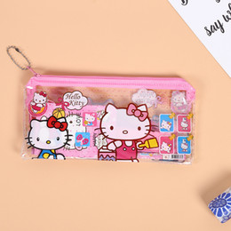 Discount cat stationery set - 1set 7pcs bag Hello Kitty Cat Stationery Sets Pencil Case Ruler Erase Zipper bag Kids Birthday Party Supplies Party Favo