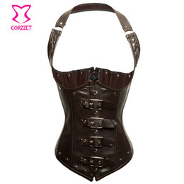 a3a3be72df Corzzet Brown Leather Halter Steampunk Vest Corsets And Bustiers Waist  slimming Steel Boned Gothic Underbust Corselet