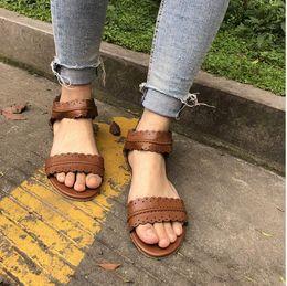 $enCountryForm.capitalKeyWord Australia - Womens Summer Sandals Flat Ankle Strap Casual Shoes Back Zipper Zip-up Fashion Footwear