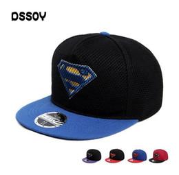 10358ea9bb1 Designer Skull Superman Mesh Hip Hop Hats Flat Brimmed Cotton Ball Cap  Adjustable Snapback Golf Sports Man Sun Visor For Adult Mens Womens