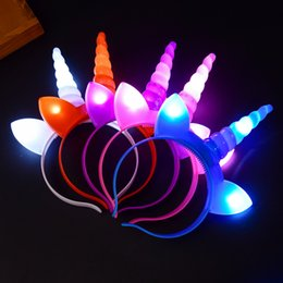 $enCountryForm.capitalKeyWord Australia - Glow LED Unicorn Headband Shinning Hairband Party Rave Toy luminous flashing Hairpin For Halloween Xmas birthday Cheer Up Head Bands favor