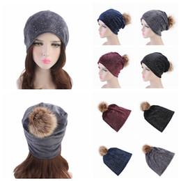 $enCountryForm.capitalKeyWord NZ - 4 Colors Rhinestones Hats For Women Winter Warm Plus Velvet Fashion Caps With Natural Fur Pompoms Female Skullies Beanies Hat AAA1082