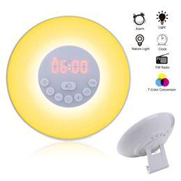 Venta al por mayor de NASTIMA Touch Sensing Reloj despertador digital Salida del sol Puesta de sol LED Luz de despertador con radio FM Lámpara colorida Modo Snooze Nature Sound