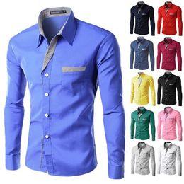 Shirt Korean Designs Australia - Fashion Long Sleeve Shirt Men Korean Slim Design Formal Casual Male Dress Shirt Size M-4XL