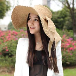 Summer Wide Brim Beach Sun Visor Hat Women Ribbon Bowknot Straw Hats  Foldable UV Protection Panama Hat Sunhat Caps Feminino 6031f6458b93