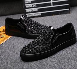 $enCountryForm.capitalKeyWord Australia - Rivet Glitter Silver Skate Stud Hip Hop Fashion Black Shoes Men Elevator Dandelion Slip On Sneakers Hot Sale Autumn Popular
