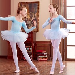 Discount red tutus for women - Long Sleeved Ballet Dress For Girls Kids Ballet Tutu Dress for Child Girls Leotard Gymnastics Clothes Dresses
