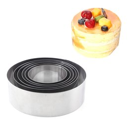 Baking Mousse Ring UK - cooking Silver Mousse Cake Rings Stainless Steel 6pcs set Round Small Cake Mold 6-12cm DIY Biscuit Bakeware Kitchen Baking Tools