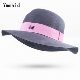 7d06fc5de38 Ymsaid High Quality Winter Flat Brim Felt Cap Wool Bowler Hat For Women s  Cashmere British Style Fedora Jewish Jazz Hats M Logo