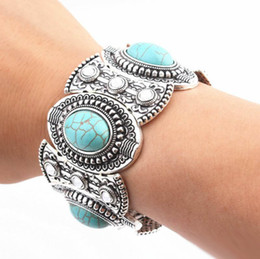 $enCountryForm.capitalKeyWord Australia - Turquoise Bracelet Bangle Women and Men Silver Plated Bangles Diamond Elliptical Turquoise Bead Bracelet Bohemian Jewelry