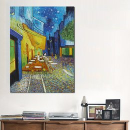 Painted Canvas Cafe Art NZ - Canvas Art Wall Pictures For Living Room Vincent Van Gogh Cafe Terrace At ight Modern Painting Home Decor Printed No Frame