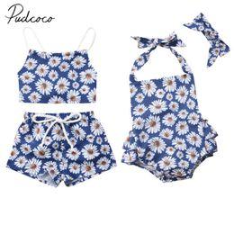 564174f1299 2018 Brand New 0-24M Summer Infant Baby Girls Clothes 2PCS Sunflowers Daisy  Print Back Belt Vest Tops+Shorts Or Romper+Headband
