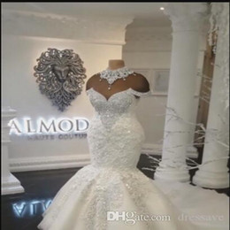 Color wedding dress designers online shopping - New Designer Luxury Dubai Arabic Mermaid Wedding Dresses Plus Size Beading Crystals Court Train Wedding Dress Bridal Gowns Custom