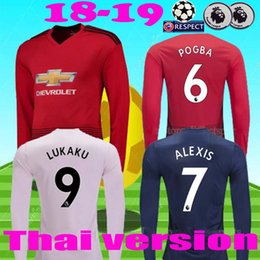 e2598a639 TOP Thailand Alexis sanchez POGBA men long sleeve soccer jersey 2018 2019  LUKAKU RASHFORD LINGARD MATA FRED football shirt jerseys