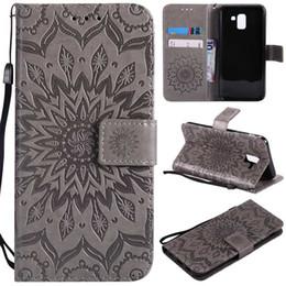Flower Flip phone case online shopping - For Galaxy J8 J4 J6 Europe J3 J7 USA A6 Plus J7 DUO J2 PRO Luxury Imprint Sunflower Wallet Leather Cases Flower Phone Flip Cover Strap
