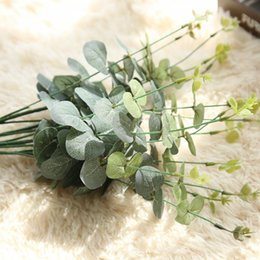 Wholesale 52cm new Artificial Silver Dollar Eucalyptus Leaf For silk Flowers Household Store Dest Rustic Decoration Clover Plant